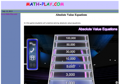 Screenshot of Absolute Value Equations - Billionaire