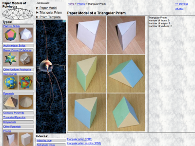 Screenshot of Paper Model of a Triangular Prism