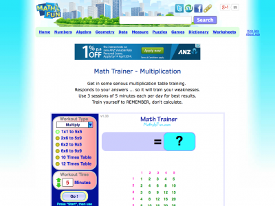 Screenshot of Multiplication trainer at Maths is Fun