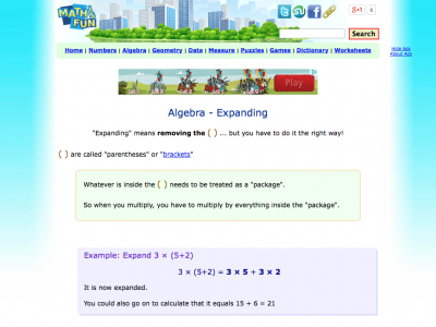 Screenshot of Algebra Expanding