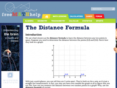 Screenshot of Distance Formula Lesson