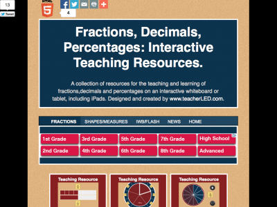 Screenshot of Fractions, Decimals, Percentages: Interactive Teaching Resources.